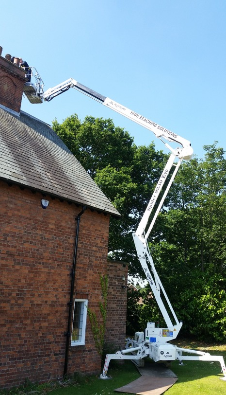Tracked spider cherrypicker chimney maintenance
