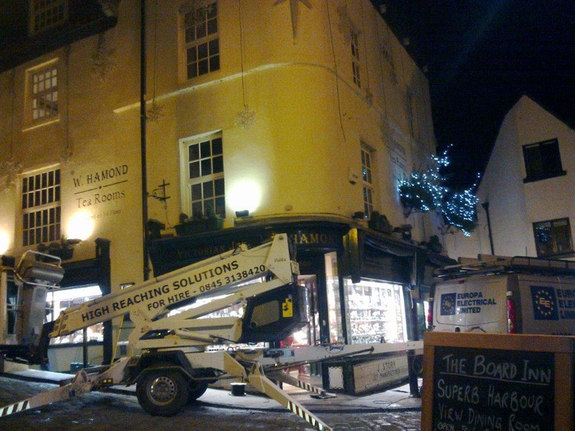 Delila Towable and tracked spiderlifts putting up Xmas Decorations in Whitby near Malton York