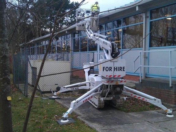 Scarlett Grace tracked spiderlift cherrypickers for gutter cleaning in Scarborough from High Reaching Solutions Malton York North Yorkshire