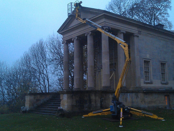 Tracked spiderlift cherrypickers historic building inspection Malton York North Yorkshire