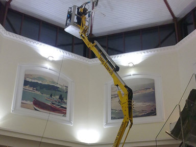 Tracked spiderlift cherrypicker for internal cleaning and electrical/lighting work from High Reaching Solutions Malton York