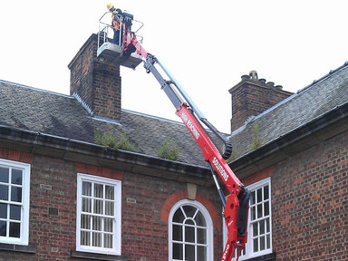 Tracked spiderlift cherrypicker for chimney and building work from High Reaching Solutions Malton York
