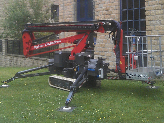 Sophie tracked spiderlift cherrypicker from High Reaching Solutions ready for decorators in Halifax