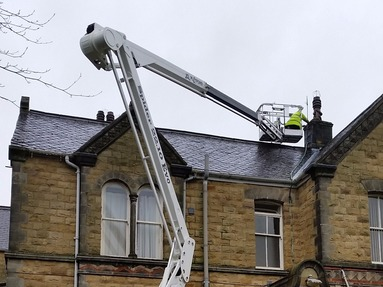 Tracked spiderlift cherrypickers fro roof and building maintenance Malton York North Yorkshire